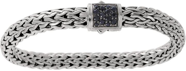 John Hardy Classic Chain 7.5mm Medium Braided Silver Bracelet, Black Sapphire