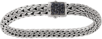 John Hardy Classic Chain 7.5mm Medium Braided Silver Bracelet, Black Sapphire