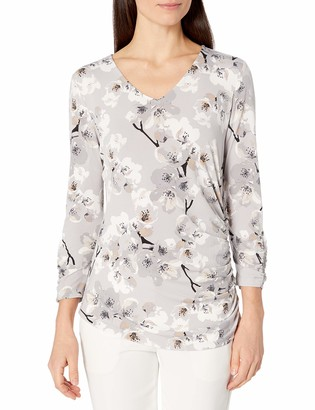 Calvin Klein Women's 3/4 Sleeve Ruched TOP