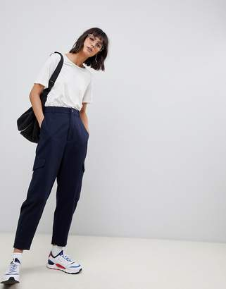 Asos pants with side pockets-Navy
