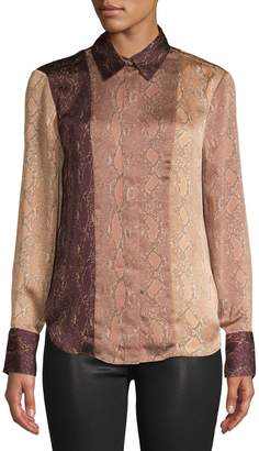 Equipment Snake Print Button-Front Blouse