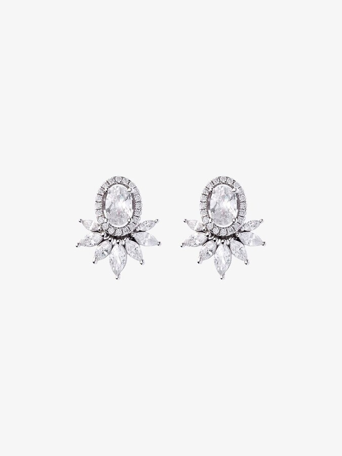 Thumbnail for your product : Apples & Figs Silver-Plated Rose Crown Crystal Earrings