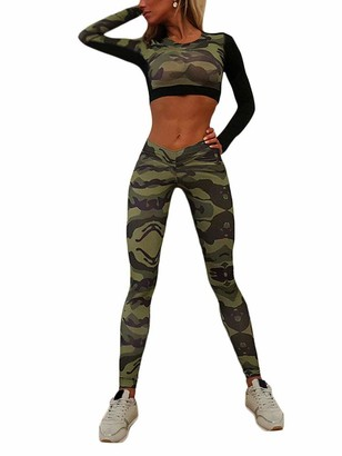 Onsoyours Womens Sportswear Set Crop Top and Leggings Stretch Fit Gym Wear Set 2 Piece Full Tracksuit Jogging Suit Camo Print Loungewear A 01 Green (Set) Medium