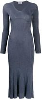 Lanvin metallic stitching midi dress