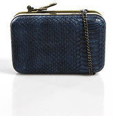 House Of Harlow Blue Embossed Leather Snake Charm Clutch Handbag New $198