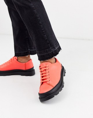 Camper Brutus lace up flat shoes in red