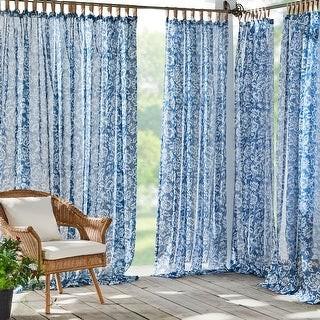 Josie Accessories Verena Floral Indoor/Outdoor Sheer Velcro Tab Top Window Curtain Panel