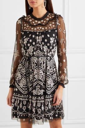 Needle & Thread Esme Embroidered Tulle Dress - Black