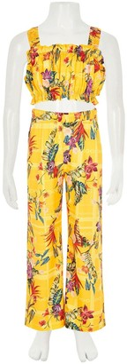 River Island Girls 2 Piece Floral Trouser and Crop TopSet -Yellow
