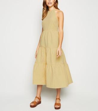 New Look Gingham Halterneck Tiered Midi Dress