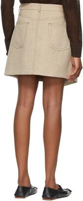 Acne Studios Beige Hemp & Linen Asymmetric Miniskirt