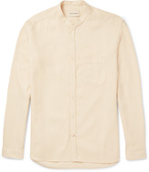 Oliver Spencer - Slim-fit Grandad-collar Waffle-knit Cotton And Linen-blend Shirt