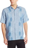 Cubavera Cuba Vera Men's Short Sleeve Linen Vertical Embroidery Print Combo Woven Shirt