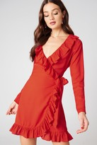 Na Kd Boho Long Sleeve Wrap Frill Dress