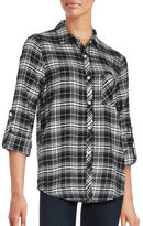 Honey Punch Plaid Button Down Tab Roll Sleeved Flannel Shirt