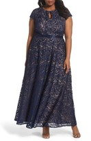 Alex Evenings Plus Size Women's Belted Lace A-Line Gown