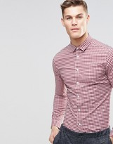 Asos Skinny Shirt In Red Gingham Check With Long Sleeves