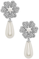 Nina Silver-Tone Cubic Zirconia and Imitation Pearl Floral Drop Earrings