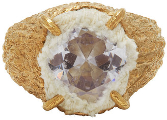 SWEETLIMEJUICE Gold Denim Planet Oval Signet Ring