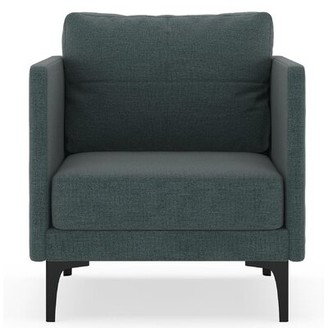 Corrigan Studio Cromartie Armchair Fabric: Aegean Blue, Leg Color: Black