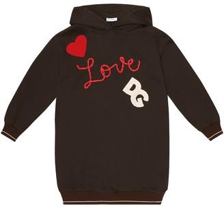 Dolce & Gabbana Kids Hooded cotton sweatshirt dress