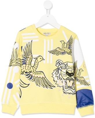 Kenzo Kids Bird And Tiger Print Sweatshirt