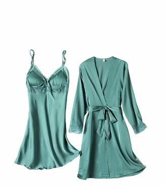 Chongmu Womens Pyjamas Set 2pcs Silk Pajamas Satin Robe Gown Sets Lace Patchwork Sleepwear Sexy V-Neck Nightdress Green