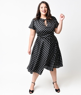 Unique Vintage Plus Size Black & Ivory Dot Formosa Swing Dress