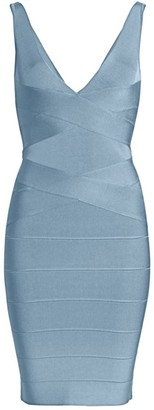Herve Leger Icon Deep V-Neck Bodycon Dress