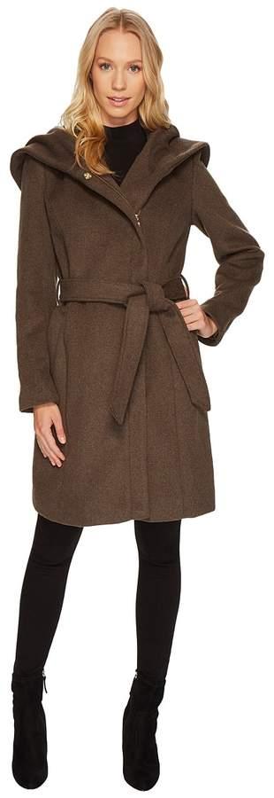 Cole Haan Hooded Asymmetrical Zip Front Coat Women's Coat