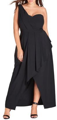 City Chic Allure One-Shoulder Maxi Dress