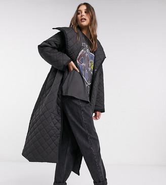 ASOS DESIGN Tall longline diamond quilted maxi coat in black