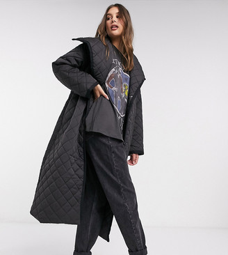 Asos Tall ASOS DESIGN Tall longline diamond quilted maxi coat in black