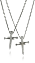 DSQUARED2 Crossing Nail Palladium Plated Metal Double Chain Necklace w/Strass