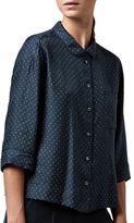 Toast Dayu Print PJ Silk Shirt, Cobalt/Harvest Gold