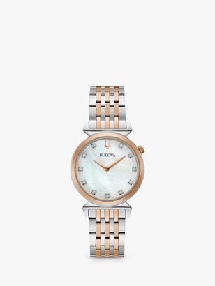 Bulova 98P192 Women's Regatta Diamond Bracelet Strap Watch, Silver/Rose Gold