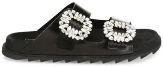 Roger Vivier Slidy Viv Embellished Leather Slides