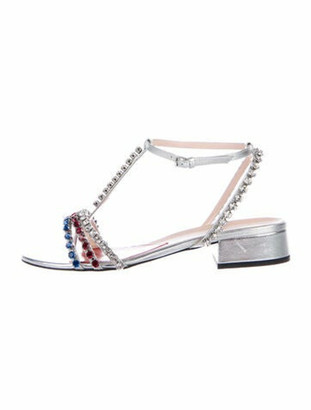 Gucci Leather Crystal Embellishments T-Strap Sandals Silver
