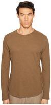 Vince Raw Hem Long Sleeve Linen Blend Crew Neck T-Shirt Men's T Shirt