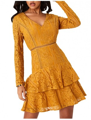Girls On Film Sensation Mustard Lace Frill Mini Dress