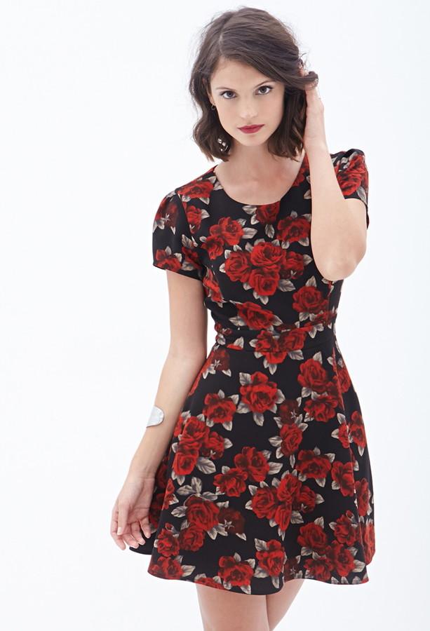 Forever 21 Rose Print Tea Dress