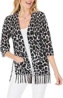 Foxcroft Flora Animal Print Fringe Cotton Blend Cardigan