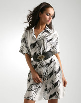 Elle Macpherson Gestuz Feather Print Oversized Silk Shirt Dress