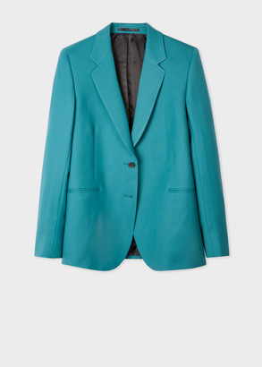 Paul Smith A Suit To Travel In - Women's Turquoise Two-Button Wool Blazer