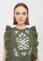 MANGO Ruffles embroidered top