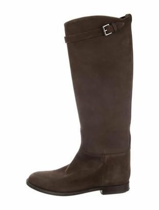 Hermes Jumping Nubuck Knee-High Boots Brown