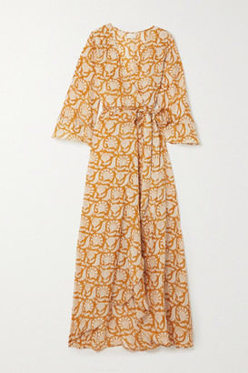 HANNAH ARTWEAR Net Sustain Luna Printed Silk Wrap Maxi Dress - Orange