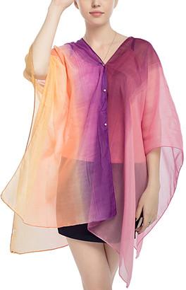 JINWEI Women's Kimono Cardigans purple - Purple & Yellow Color-Block Kimono-Sleeve Cardigan