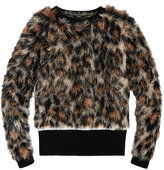 GUESS Faux-Fur Cheetah Sweater, Big Girls (7-16)