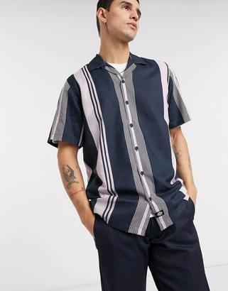 Dickies Forest Park short sleeve stripe shirt in blue